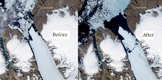 Peterman Glacier before and after